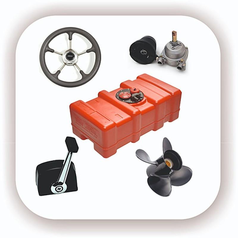 Системы управления мотором и судном. Консоли управления, троса, рули, дистанционное управление, втулки и тросоприемники, аксессуары.