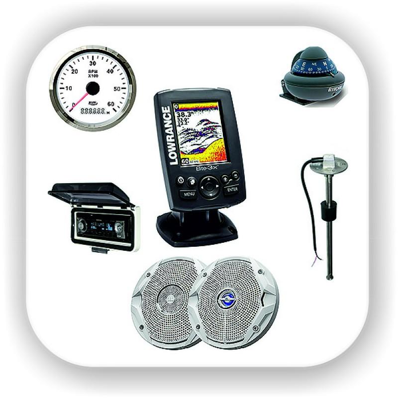 Приборы измерительные, датчики и сенсоры, компасы и эхолоты, колонки, аудиотехника, панели, антенны. Тахометр, спидометр, уровень топлива