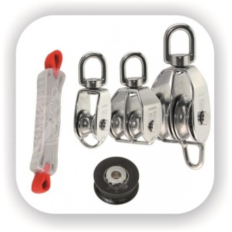 Блоки, стопоры. Блоки для отводки закрутки стакселя, врезные ролики, для стальных и синтетических тросов. Отводные ролики.