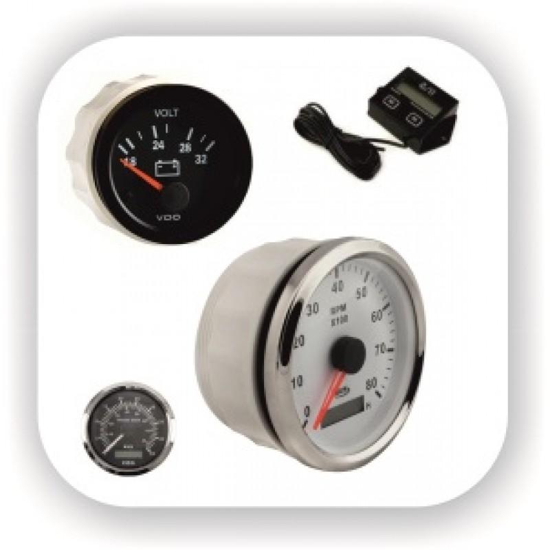 Измерительные приборы (тахометр, вольтметр, спидометр, уровень топлива, уровень вода, трим, температура, часы) для установки на приборной панели на лодку, катер или яхту