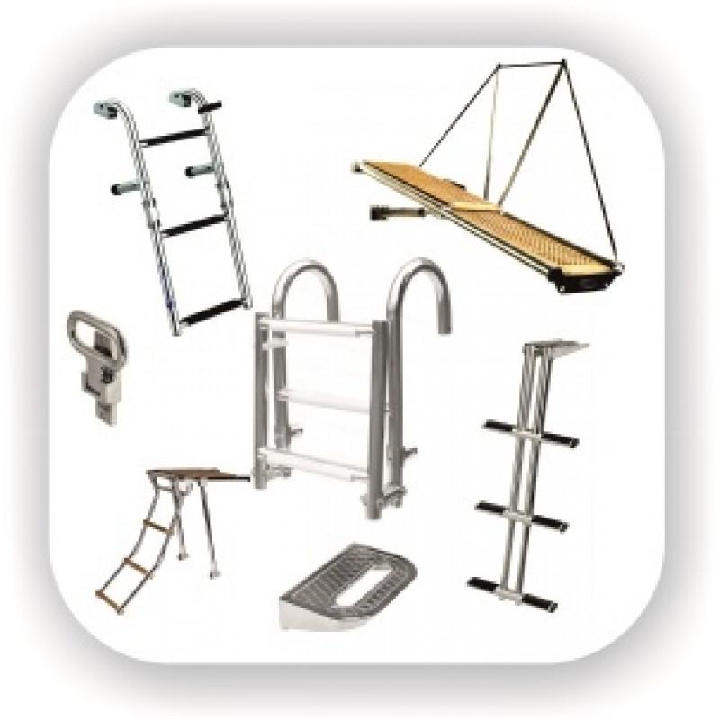 Лестницы складные и телескопические, трапы нержавеющие раскладные и веревочные, площадки носовые и платформы кормовые