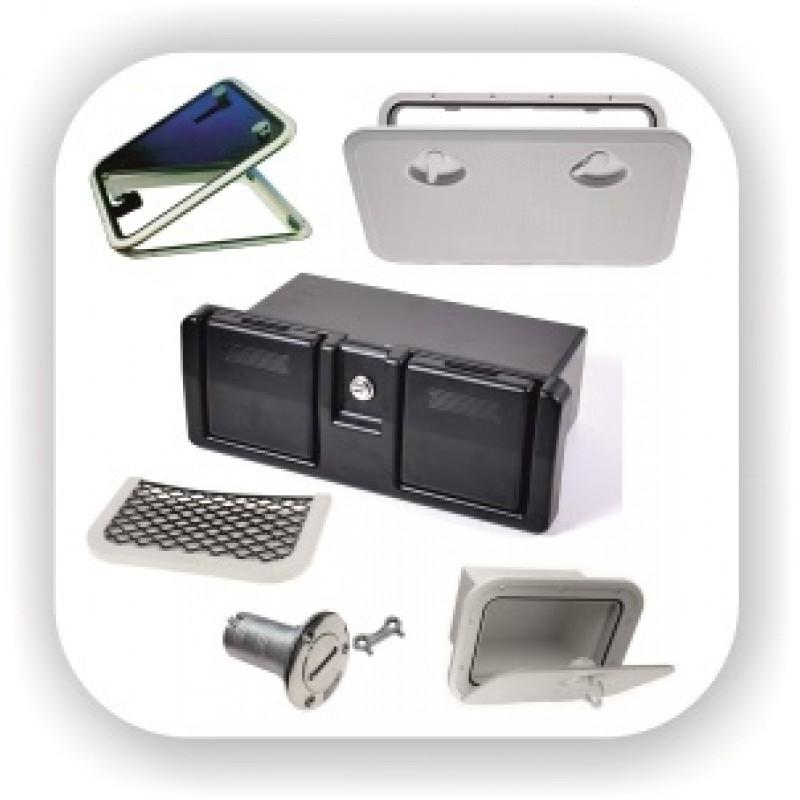 Люки доступа и инспекционные лючки, ниши, сетки и карманы для хранения, бардачки, вентиляционные решетки, иллюминатор, ручки, горловины