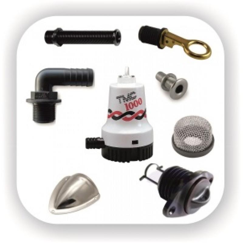 Автоматические и ручные трюмные помпы для откачки воды, штуцера для шланга, сливные пробки для лодки катера или яхты и аксессуары