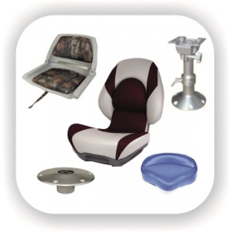 Сидения, кресла и опоры. Стойки алюминиевые и металлические, пластиковые для лодки и катера. Поворотные пластины.