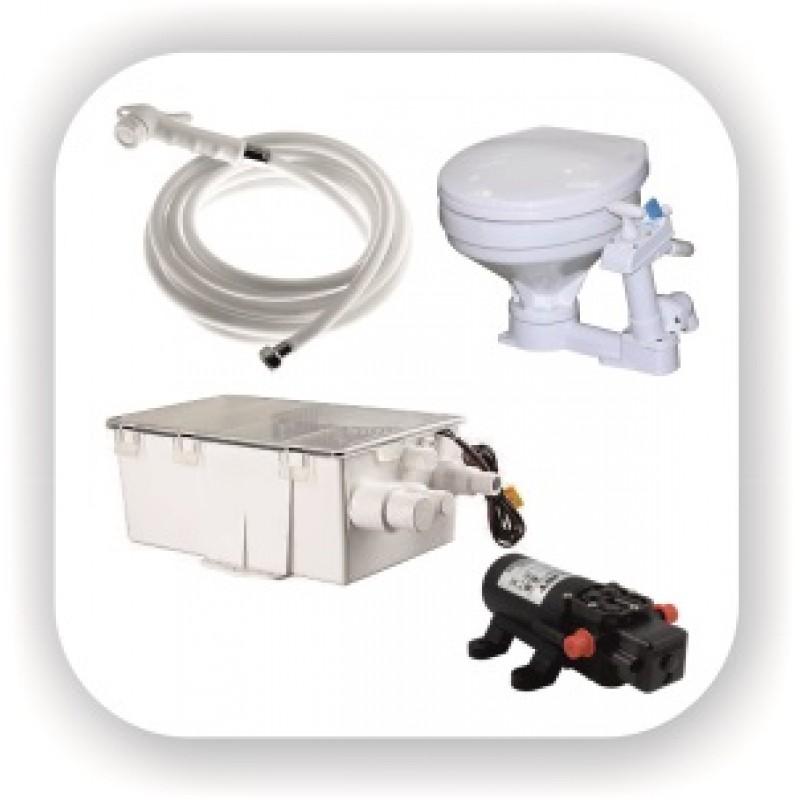 Унитазы и гальюны прокачные и электрические, кормовой и врезной душ и боксы для душа, коллектор сточных вод, гидрофор, наконечник и шланг для душа