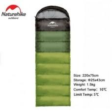 Спальный мешок с капюшоном Nature Hike U250 с фибер подкладкой (190+30)x75см, вес 1,5кг, 5-10℃ зеленый