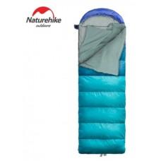 Спальный мешок с капюшоном Nature Hike U200-P с фибер вставкой (190+30)x75 см, вес 1,9 кг, 4-9℃ синий